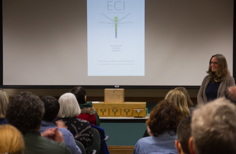 ECI's Agro-Ecology Director Rachel Bristel Stephens introduces and demonstrates the Good Ground Seed Library to a large crowd