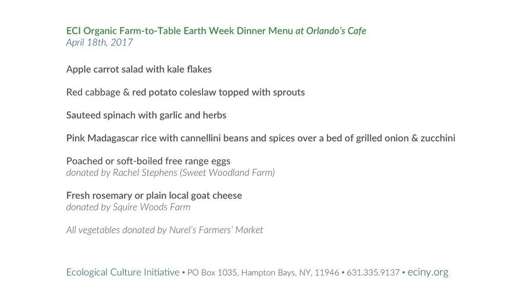 Farm-to-Table Earth Week Dinner - April 18th, 2017 - 8.5x11 menu.jpg