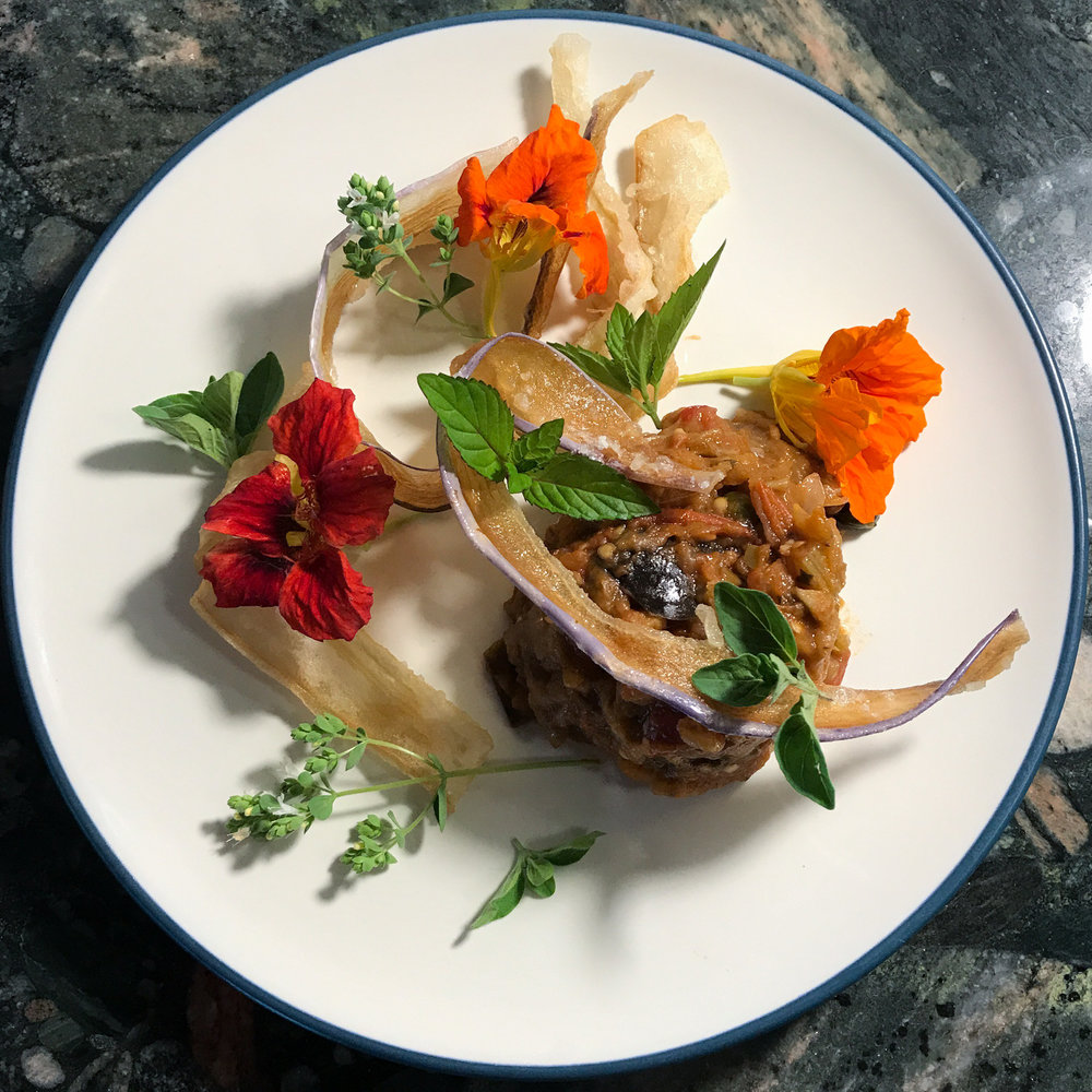 Chef Robert Curreri's Eggplant Caponata dish idea for the ECI Farmers' Market Lunch