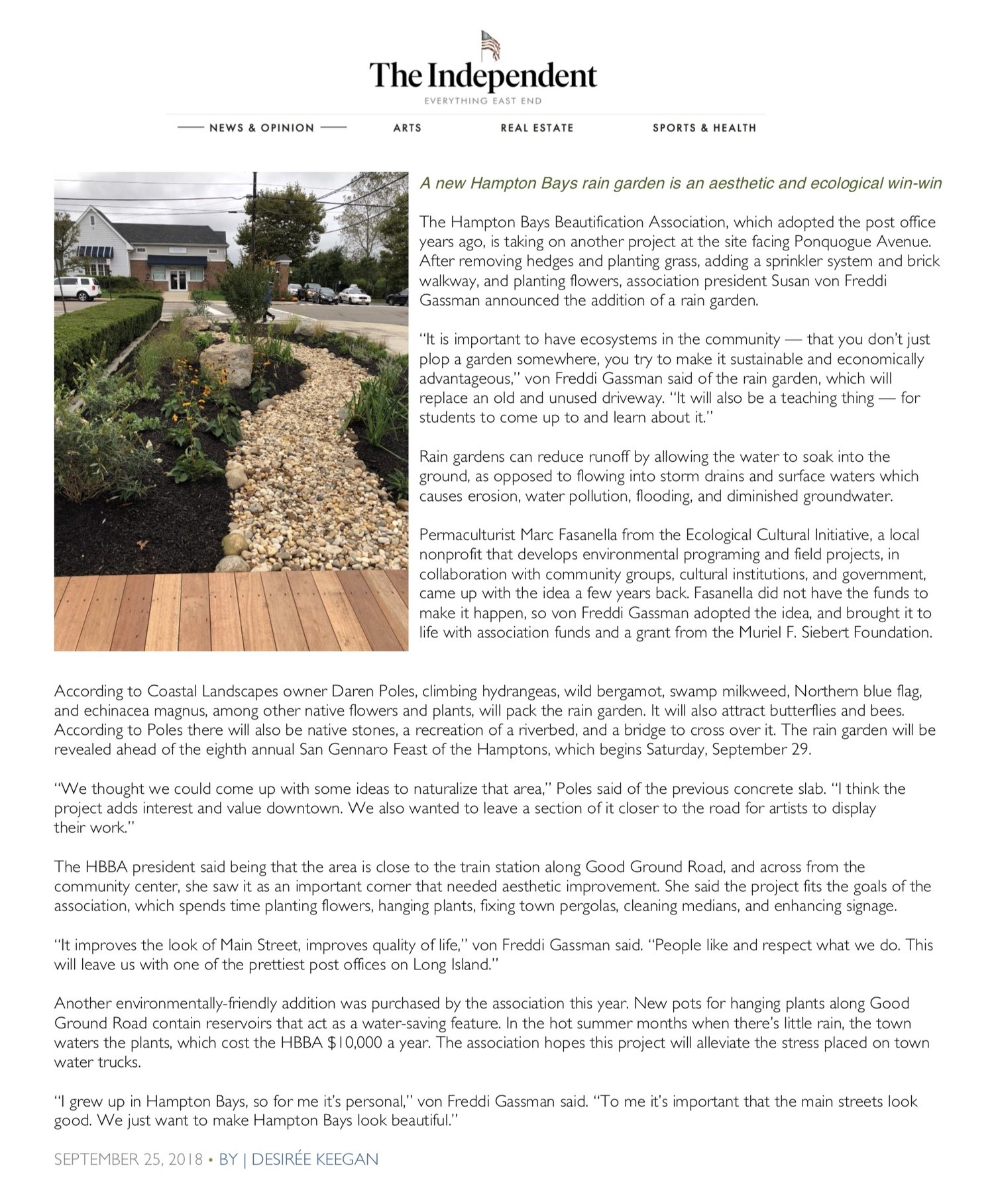 A new Hampton Bays rain garden is an aesthetic and