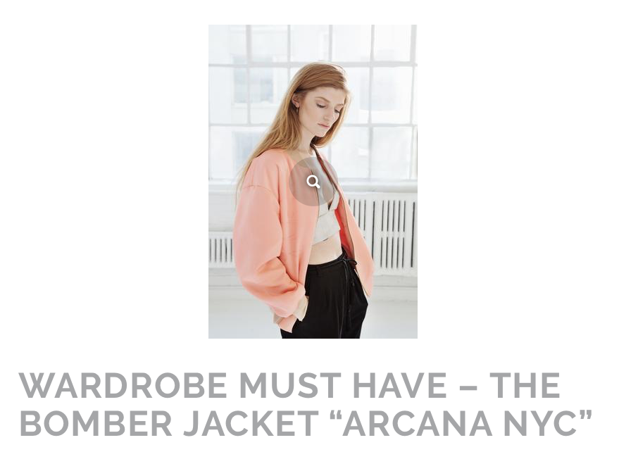 """Whether you're wearing an off the shoulder top or high waist skirt, the finishing touch for those autumn afternoons is the bomber jacket from Arcana NYC."" By Ebony Stemmons"