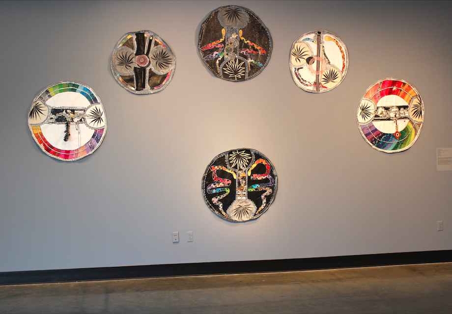 Awakening the Matrilineal, Installation, Mixed Media on Canvas Titles of the circles from left to right: 1. Calling on the West, Mixed Media on Canvas, 2016 2. The Female: Source, the one within, Mixed Media on Canvas, 2015 3. North and of the Earth,  Mixed Media on Canvas, 2016 4. The Male: Universe, Mixed Media on Canvas, 2015 5. Calling on the East,  Mixed Media on Canvas, 2016 6. Of South and Fire,  Mixed Media on Canvas, 2016 Prices available upon request.