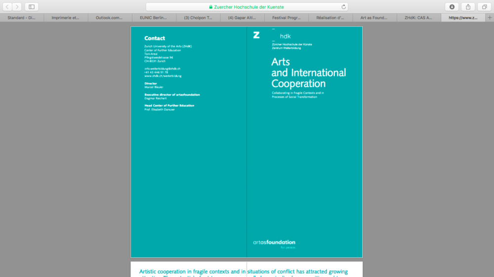 I will be a lecturer in the upcoming  Certificate of Advanced Study on Arts and International Cooperation , Zurich University of the Arts.
