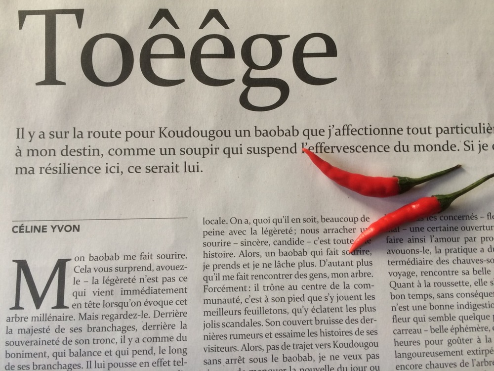 """My various travels are an endless source of inspiration – I get mesmerised by the people I meet, the stories I hear, fragrances and smells. All this often ends up in short stories, written between two flights or when I get stranded in some secluded Posada… (Photo: My short story """"Toêêge"""" published in the literary magazine La Couleur des Jours)"""