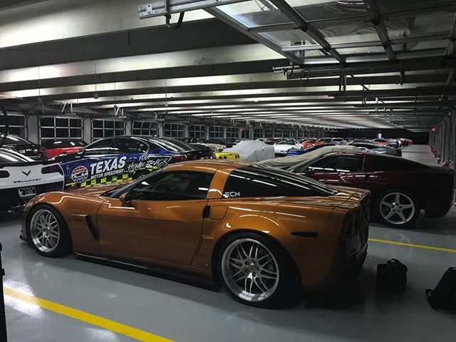 With a fleet of other Corvettes in the NASCAR garages at Texas Motor Speedway for the Lone Star Corvette Classic. ##corvette #z06 #boosted #boostedcars #boostedlife #twinturbo #akrapovic #akrapovicexhaust
