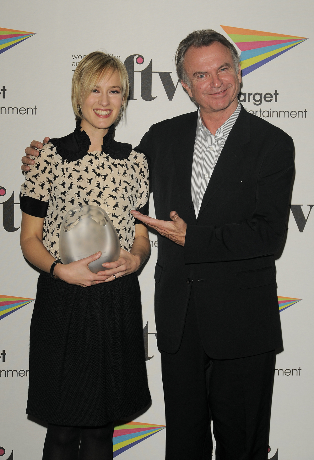 Sam Neil presents TalkbackThames new talent award to Rebekah Gilbertson, at the Women in Film and TV Awards, 2008
