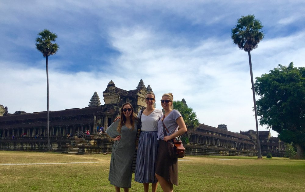 Exploring the grounds of Angkor Wat with my travel buddies, Stephanie and Laura.