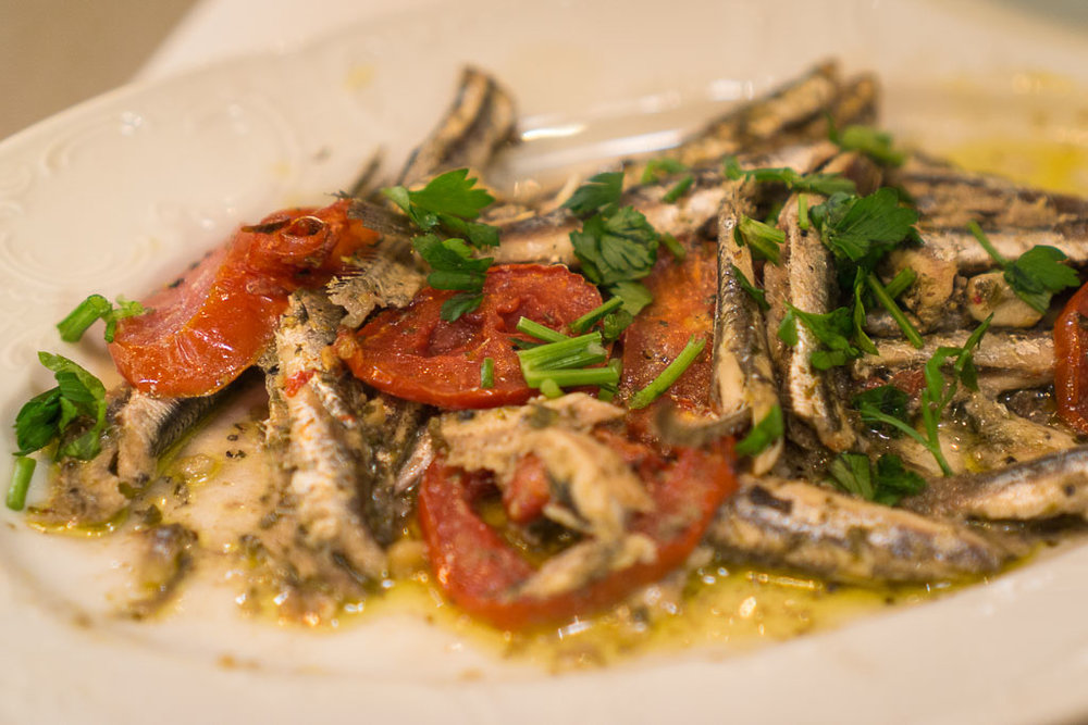 Fresh sauteed anchovies from I Kriti.