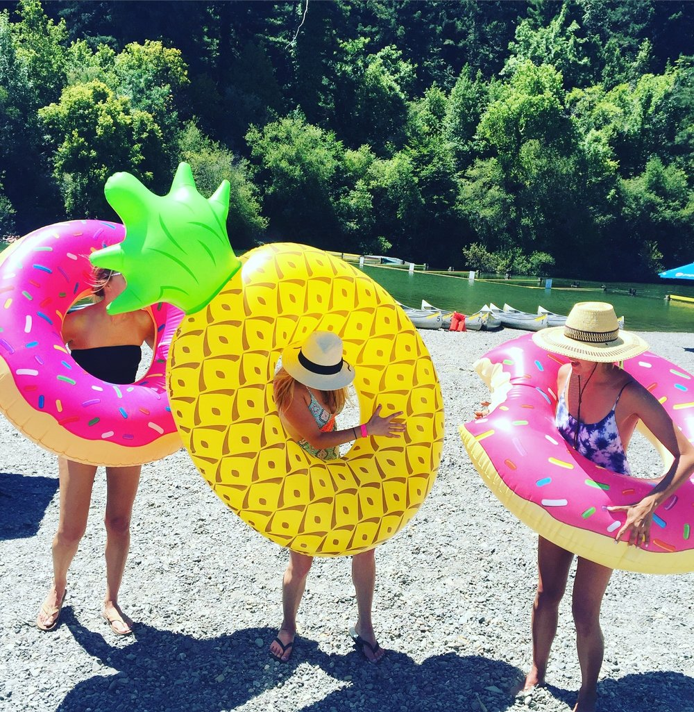 A summer day in Guerneville with some incredible co-workers. That's me with the pineapple float! (July, 2016)