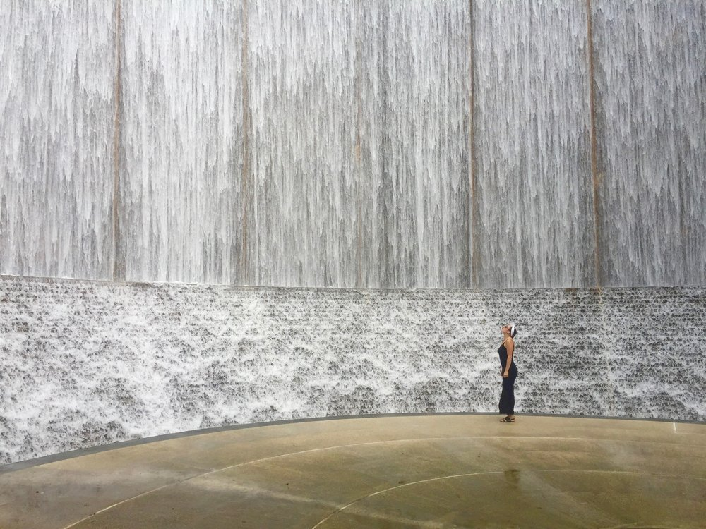 Check out this giant water wall in Houston, TX. You can find it here. (October, 2016)