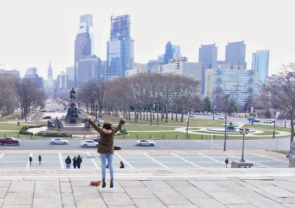 The steps of the Philadelphia Art Museum, made famous by the 1976 movie, Rocky.