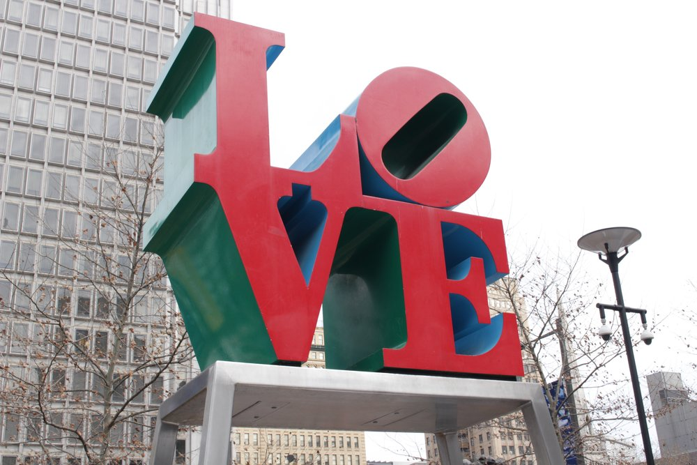 The famous Love sculpture designed by Robert Indiana. It's currently in Dilworth park while the original location, Love Park, is being renovated. (December, 2016)