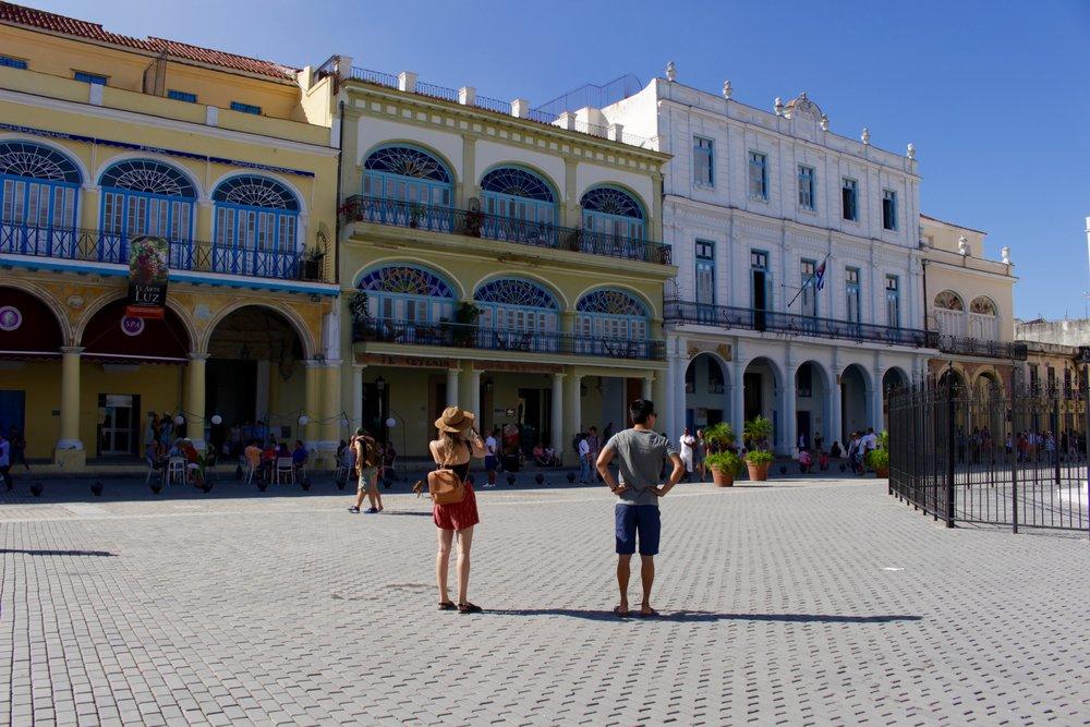 Exploring Plaza Vieja in Havana.