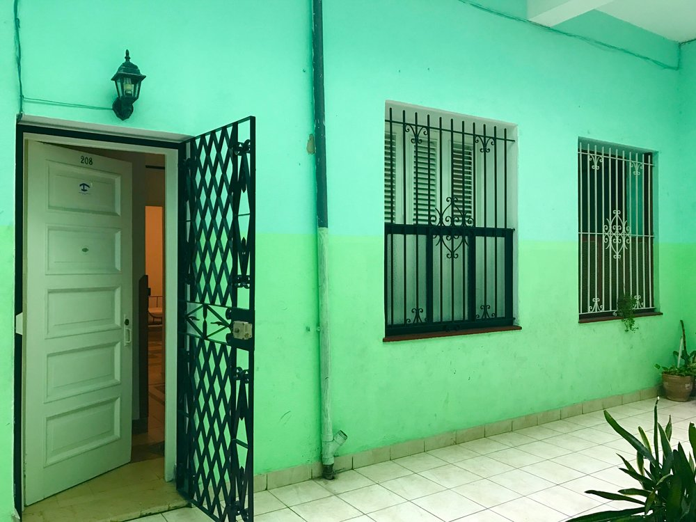 Our bright green Airbnb in Habana Viejo.