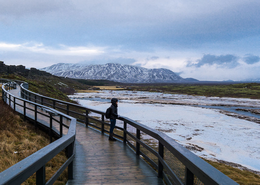 Looking out over Þingvellir National Park.