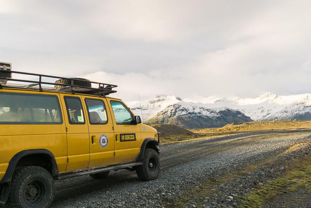 Taking the super jeep to the glacier.