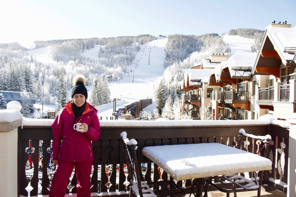 My friend,Lucy, having coffee on the balcony at The Arrabelle Club.