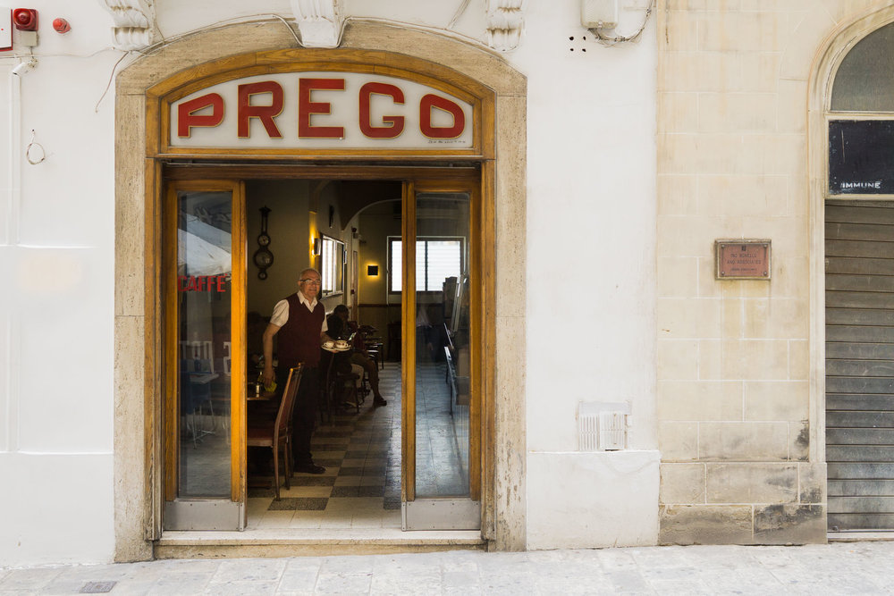 The friendly staff at Prego in Valletta.