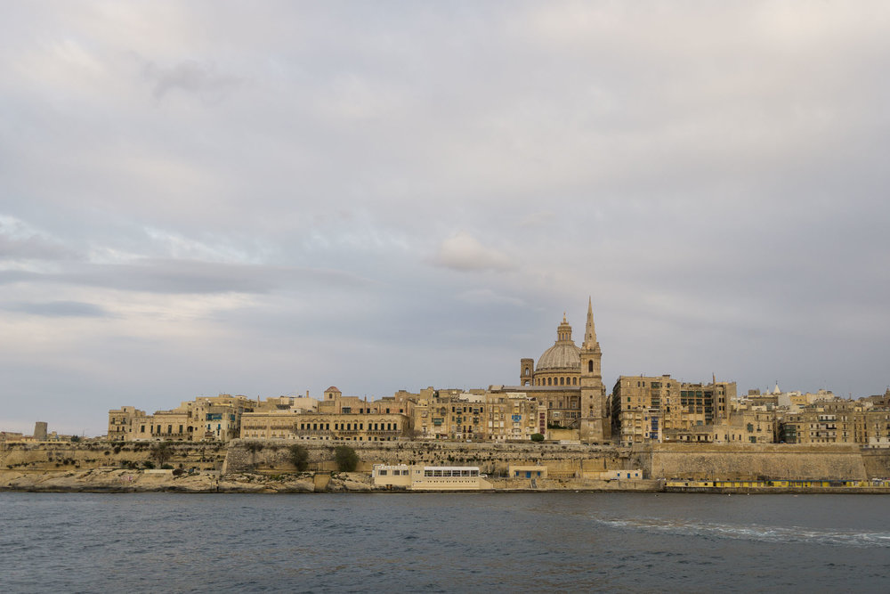 Looking back at Valletta from the ferry to Sliema.