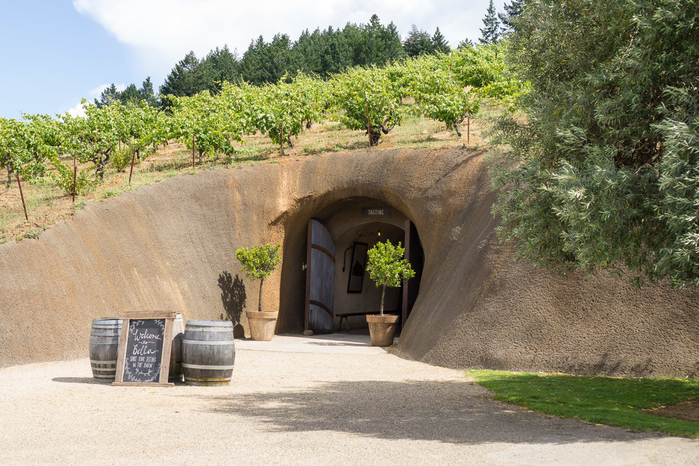 The wine cave entrance at Bella.