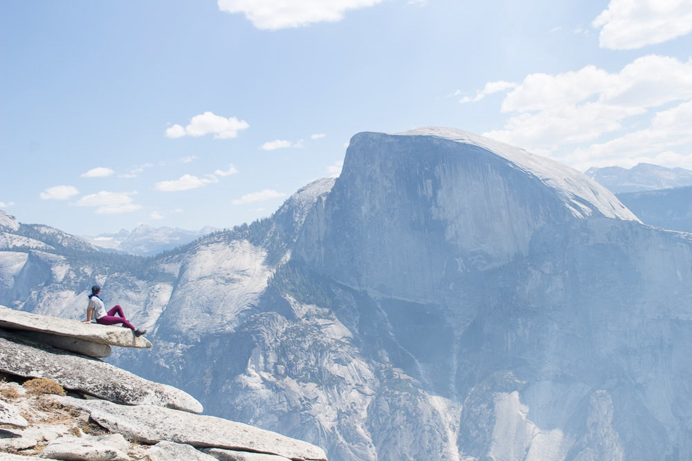 This is the view of Half Dome from North Dome in Yosemite National Park.