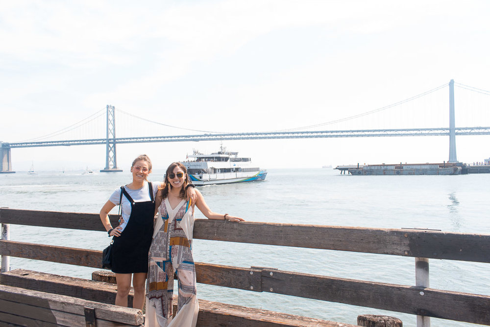 My little sister, Vikki and I outside the Ferry Building. That's the Bay Bridge behind us. Also, you should really buy this romper.