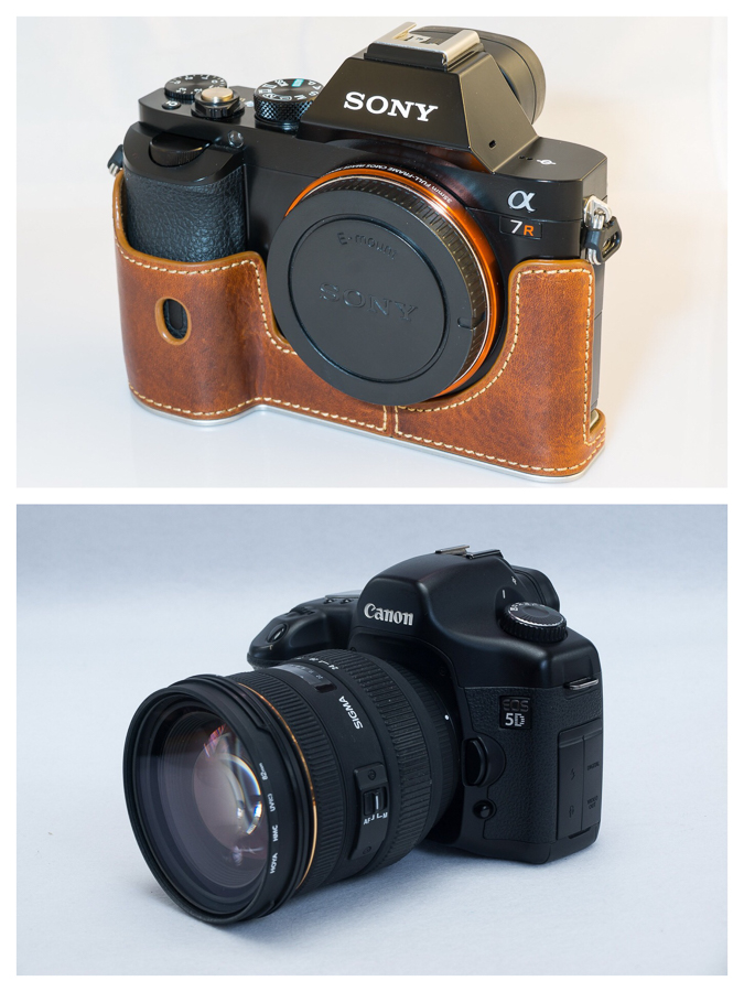 A mirrorless camera (top) vs a DSLR (bottom)
