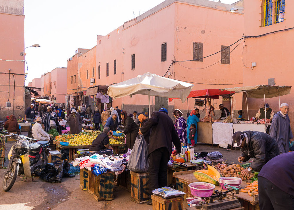 Food market in the medina of Marrakech, Morocco. January 2017