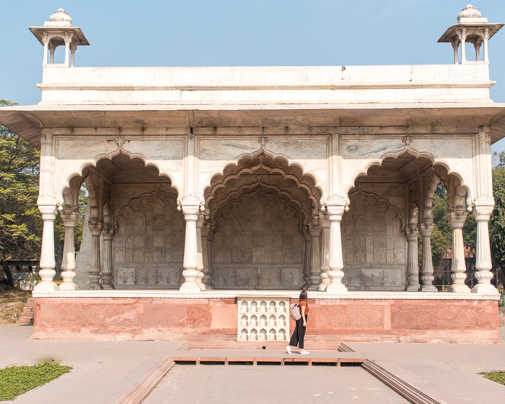 The  Hayat Bakhsh Bagh  inside the Red Fort in Delhi.