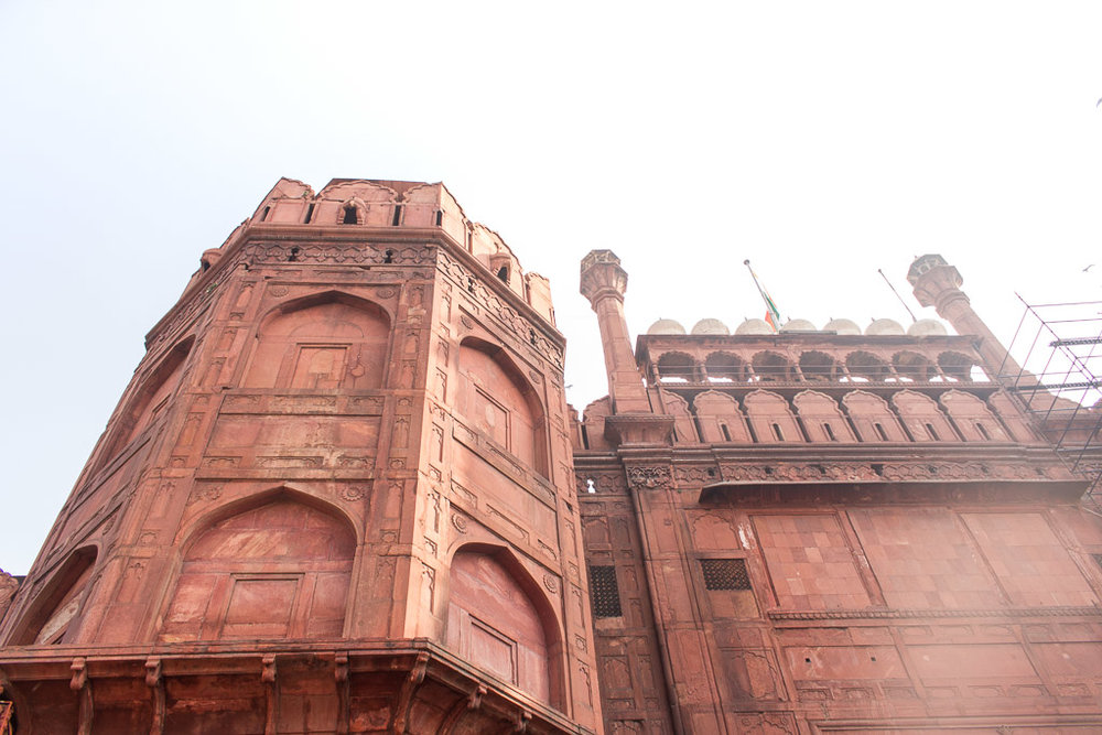Looking up at the Red Fort.