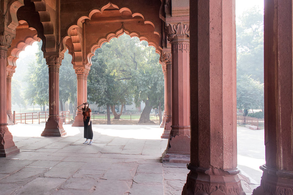 The scalloped archways at Diwan-i-Am in the Red Fort.