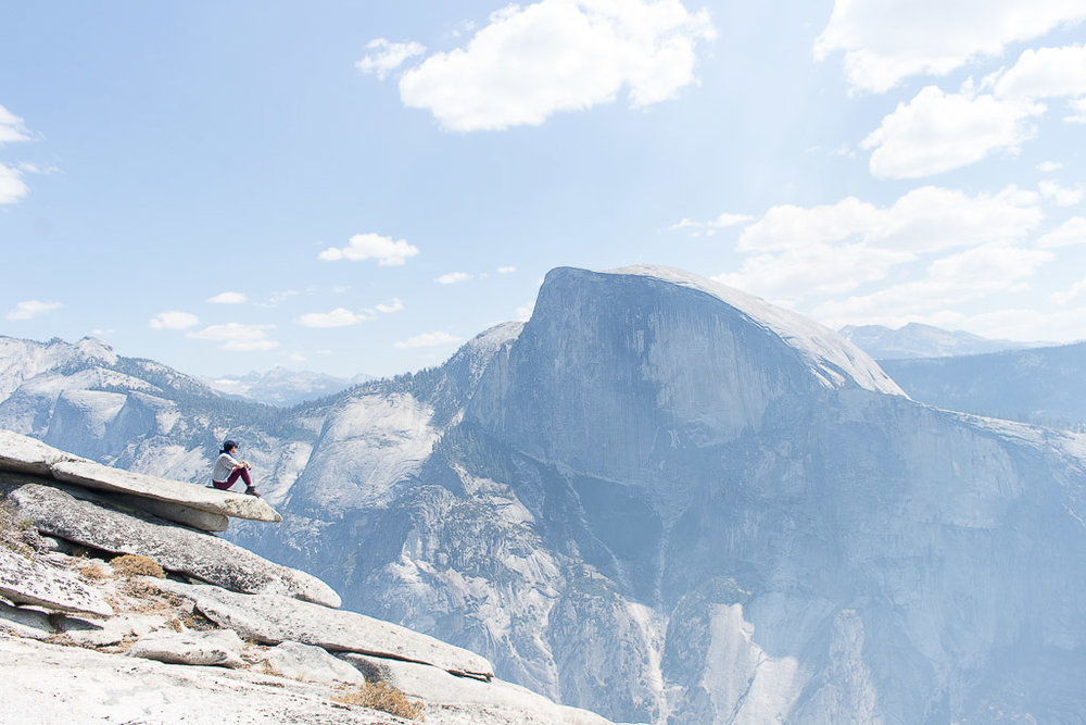 Half Dome views from North Dome in Yosemite National Park.