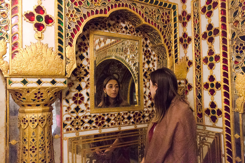 Inside the mirrored room of the City Palace.