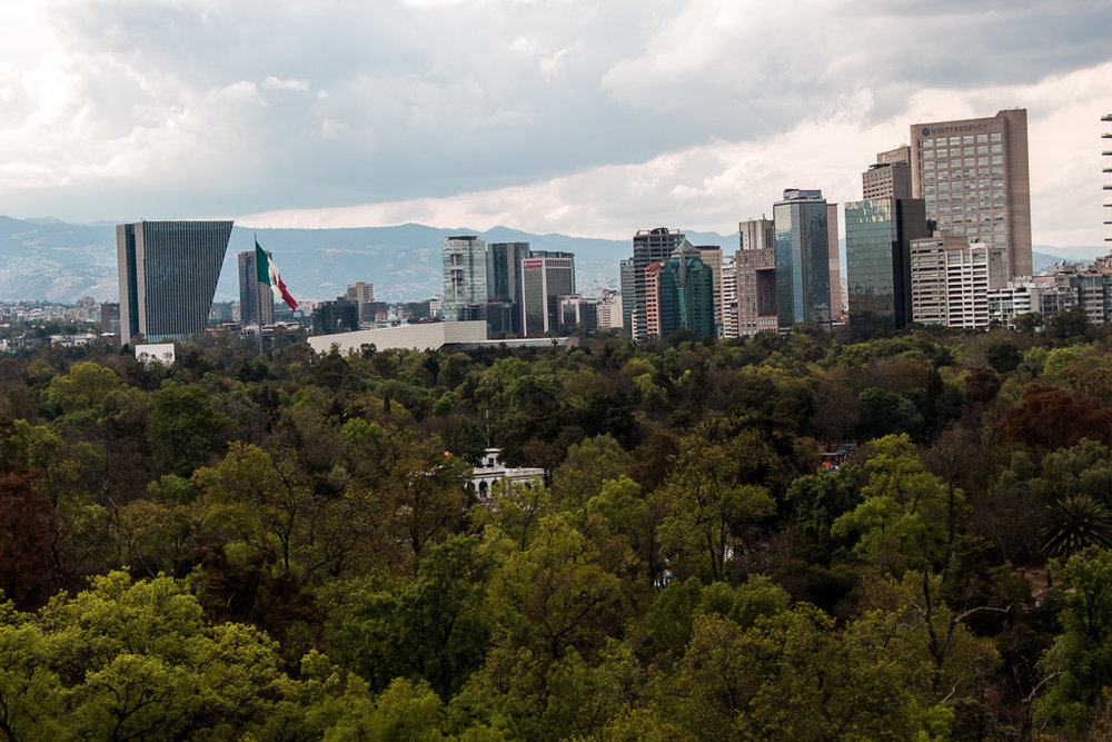 The Mexico City skyline from Chapultepec Castle.