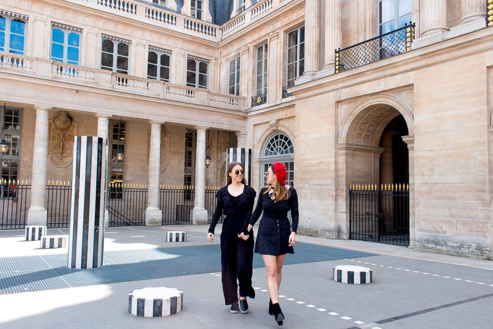My sister and I in the courtyard of Palais Royal.