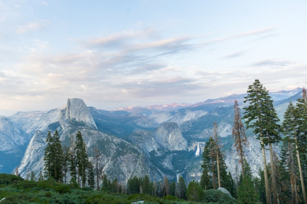 Half Dome and Bridalveil Fall at sunset