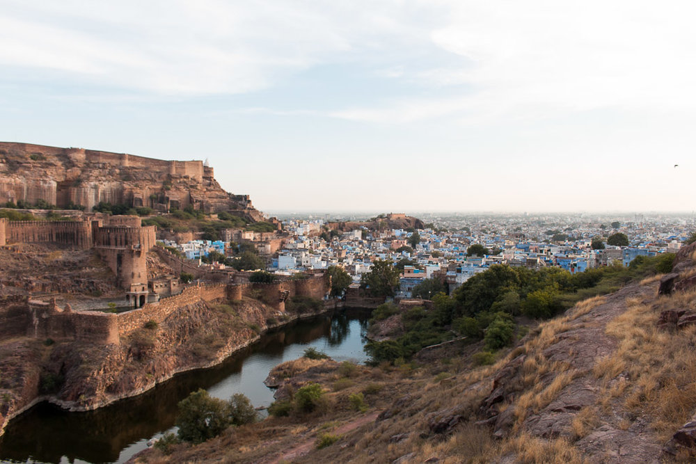 A view of the fort and blue city from Rao Jodha Desert Rock Park.