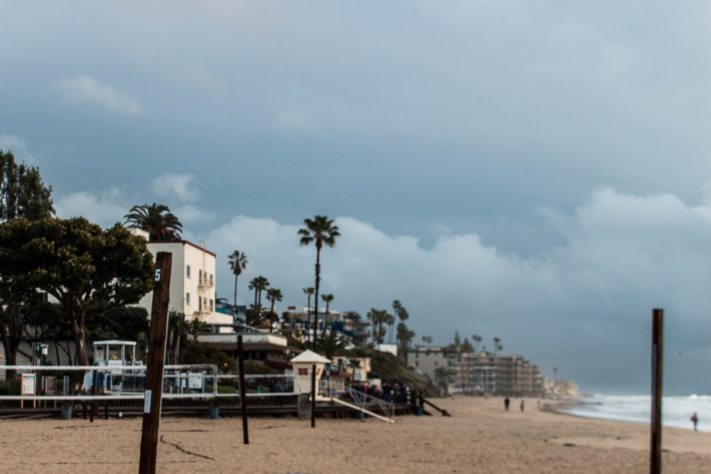 The view to the left of Main Beach. If you head straight down this strip, you'll hit The Deck Bar & Restaurant.