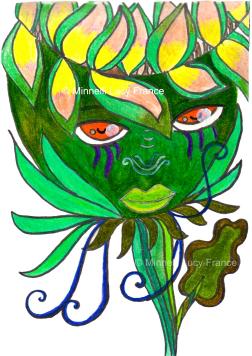 """a boy flower titled """"Green Flower"""""""