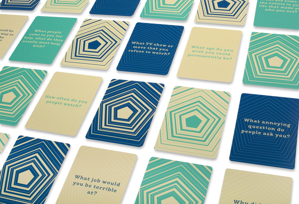 "The NoraHouse playing cards were designed to ask more personal ""awkward"" questions to immediately break the ice and get people out of their comfort zone and make it easier to start a conversation. These cards are also a keepsake from the dinner for people to hopefully use in other situations and carry one Nora's legacy on their own."