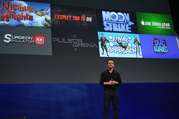 Oculus CEO Brendan Iribe on the stage announcing the first batch of launch titles planned for Oculus Touch at Oculus Connect 2 (2015).