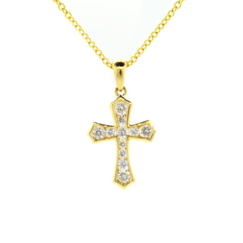 gold necklace white cross diamond chains