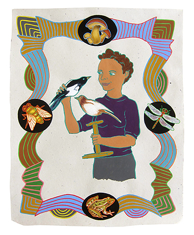 "Hanna Marie Wormington, archaeolgist,  2013  20"" x 16"" Flashe on paper"