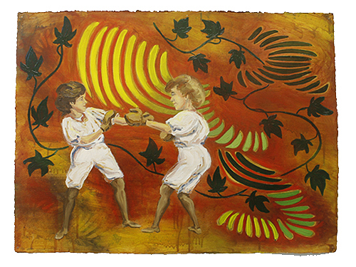 "The Ladies: Bennett Sisters,  2011  23"" x 30"" Oil & spray paint on paper"