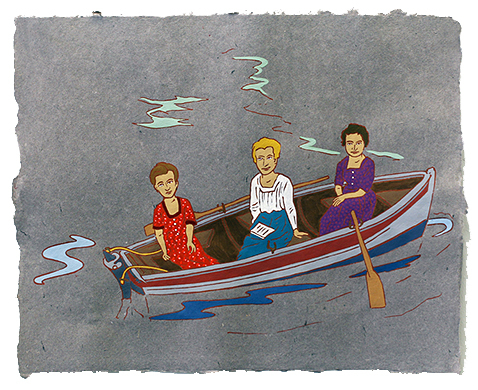 "The Ladies: Boating,  2011  16"" x 20"" Flashe on paper"