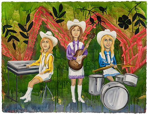 "The Ladies: Legend of the Cherokee Rose,  2011  23"" x 30"" Oil & spray paint on paper"