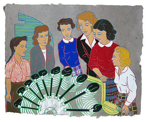"The Ladies: Engineering,  2012  16"" x 20"" Flashe on paper"