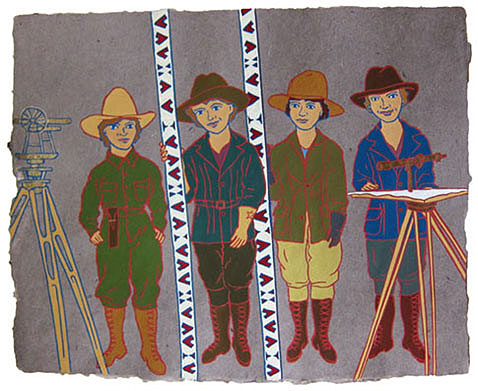 "The Ladies: Survey Crew Idaho,  2012  16"" x 20"" Flashe on paper"