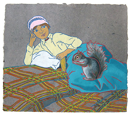 "The Ladies: With Squirrel,  2012  14"" x 16"" Flashe on paper"