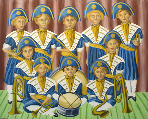 "The Ladies: Brass Band,  2012  40"" x 50"" Oil, enamel & flashe on canvas"